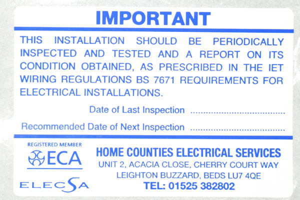 electrical inspection label